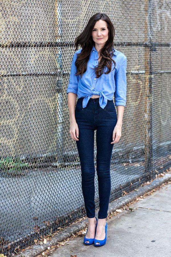 Stylish Ways to Wear a Chambray shirt0231 - Como Combinar Una Blusa De Mezclilla