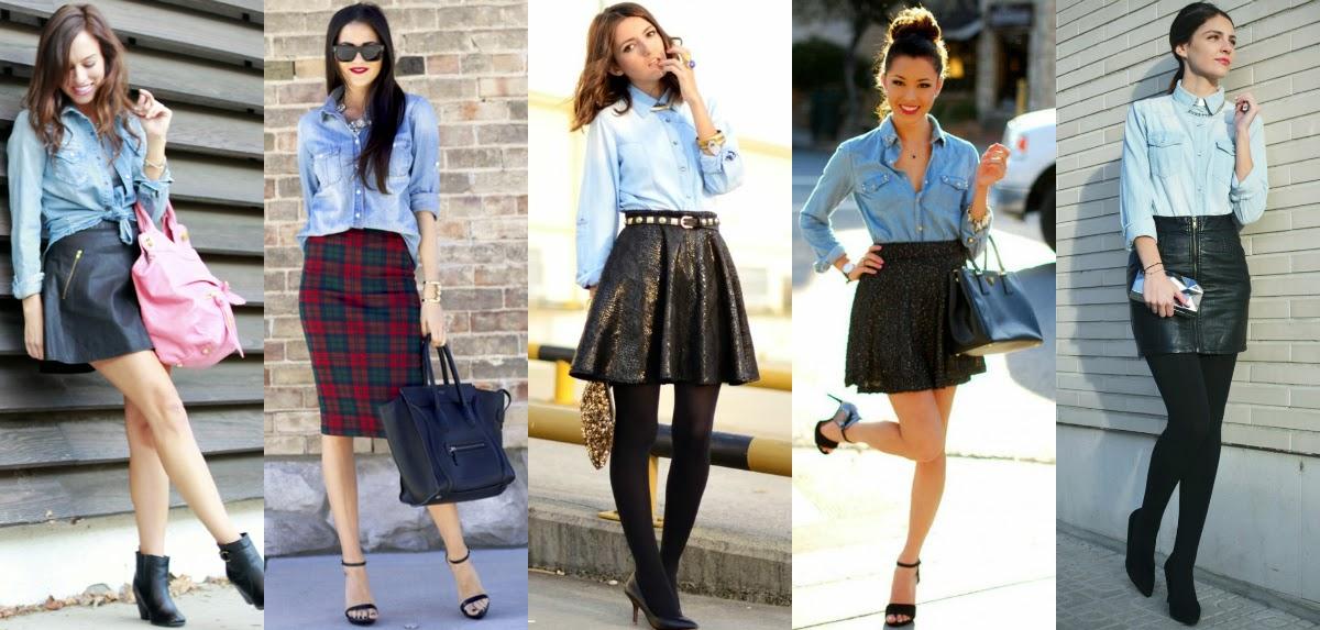 ideas para combinar una bluza de mezclilla con falda - Como Combinar Una Blusa De Mezclilla