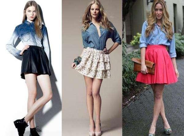 imagenes de blusas de mezclilla con falda - Como Combinar Una Blusa De Mezclilla