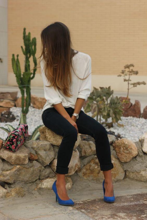 jeans negros tacones de colores - Como Combinar Tus Jeans De Color Negro