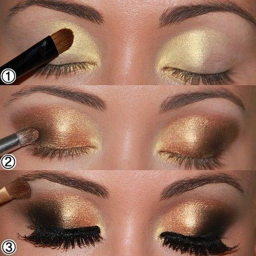 maquillaje de ojos dorado - Tips de maquillaje para las fiestas navideñas en color dorado