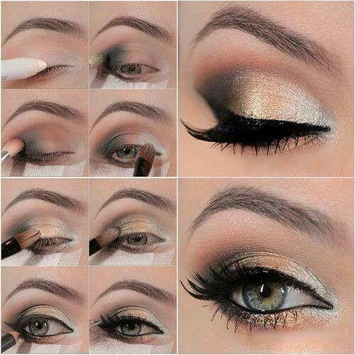 maquillaje de ojos - Tips de maquillaje para las fiestas navideñas en color dorado