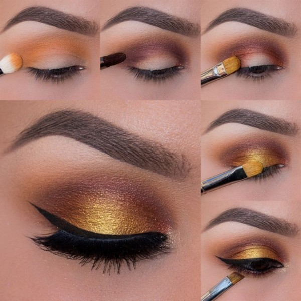 maquillaje glamoroso - Tips de maquillaje para las fiestas navideñas en color dorado