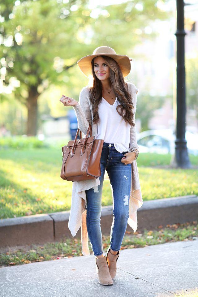 sombrero floppy hat con jeans - Como combinar diferentes tipos de sombreros para mujer