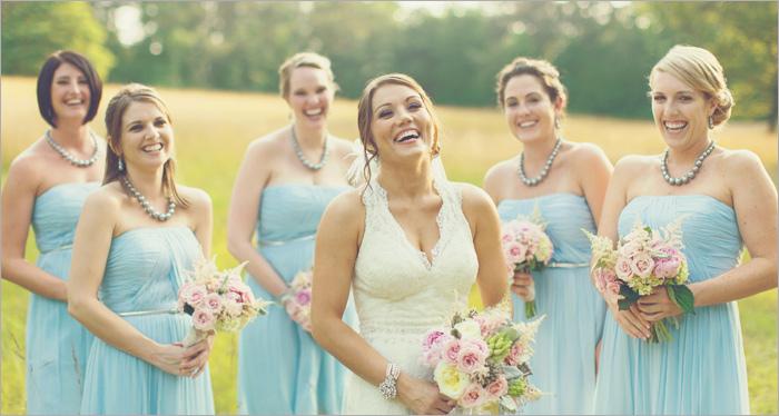 novias y damas vestidos