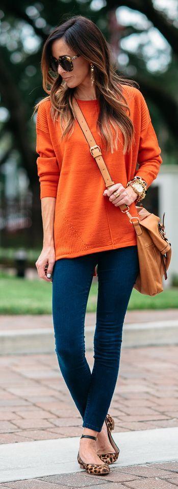 outfit casual naranja - Increíbles Outfits Naranja El Color Del Verano