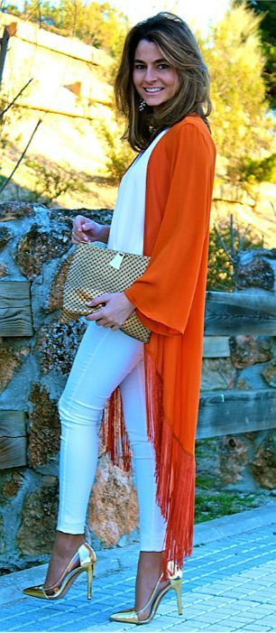 outfit dorado naranja - Increíbles Outfits Naranja El Color Del Verano