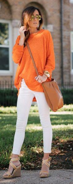 sueter naranja - Increíbles Outfits Naranja El Color Del Verano