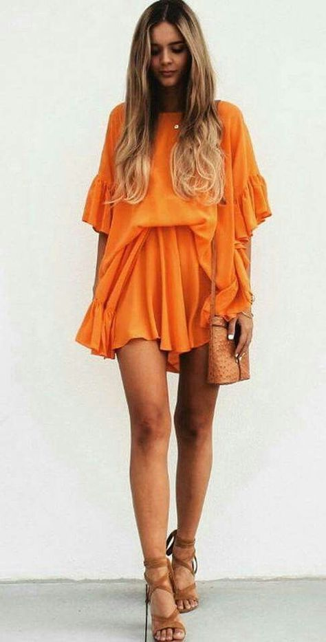 vestido corto naranja - Increíbles Outfits Naranja El Color Del Verano