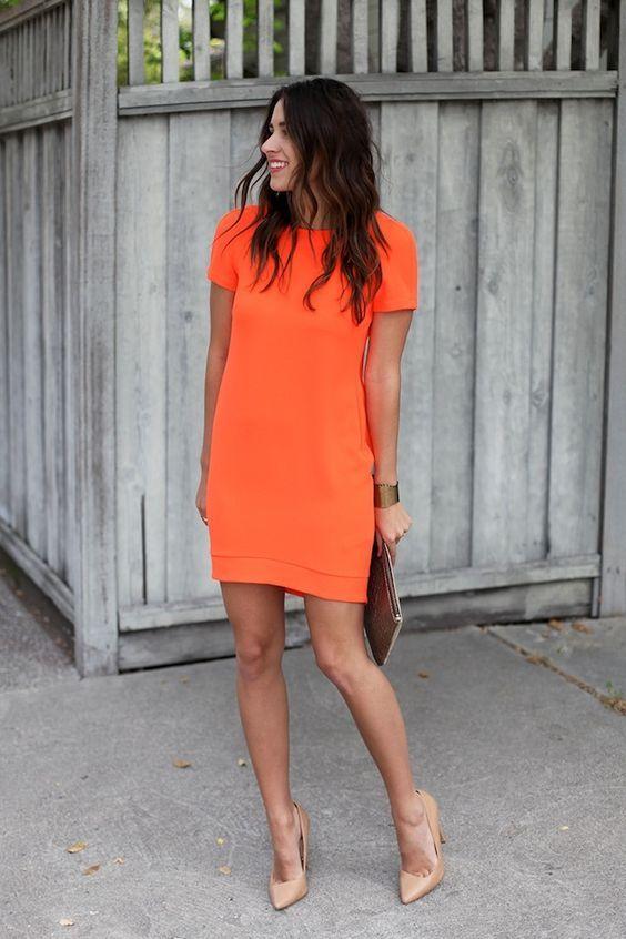 vestido naranja - Increíbles Outfits Naranja El Color Del Verano