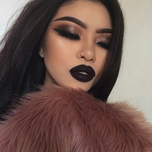labial negro mate - Maquillajes Con Labial Negro Mate Que Te Encantaran